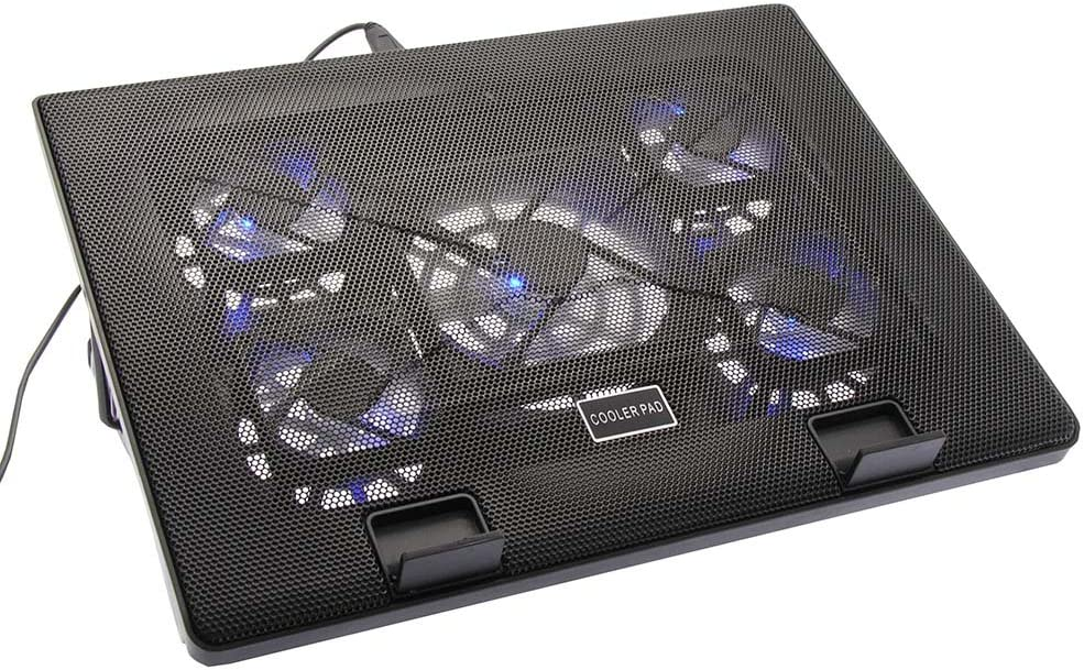 2 USB Ports Multi-Angle Stand with 5 Fans Fuji Labs Cooling Pad for 12 to 17 Inch Laptop