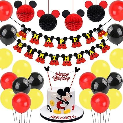 Mickey Mouse Decoración De Cumpleaños Negro Rojo Mickey Papel De Panal Bolas Feliz Cumpleaños Banner Decoración Para Tartas Para Mickey Mouse Temática Fiesta Health Personal Care