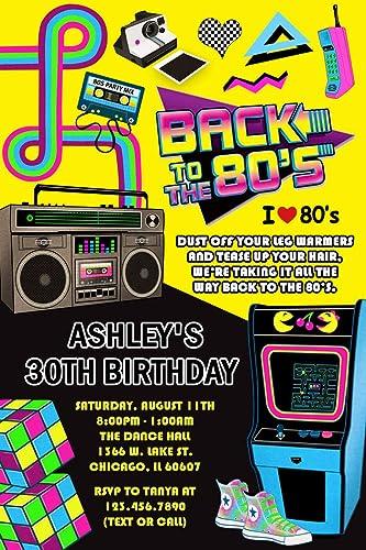amazon com 80 s birthday party invitations retro birthday party