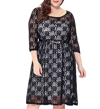 50050a2f514 Eternatastic Women s Floral Lace 3 4 Sleeve Plus Size Midi Dress Black 6XL