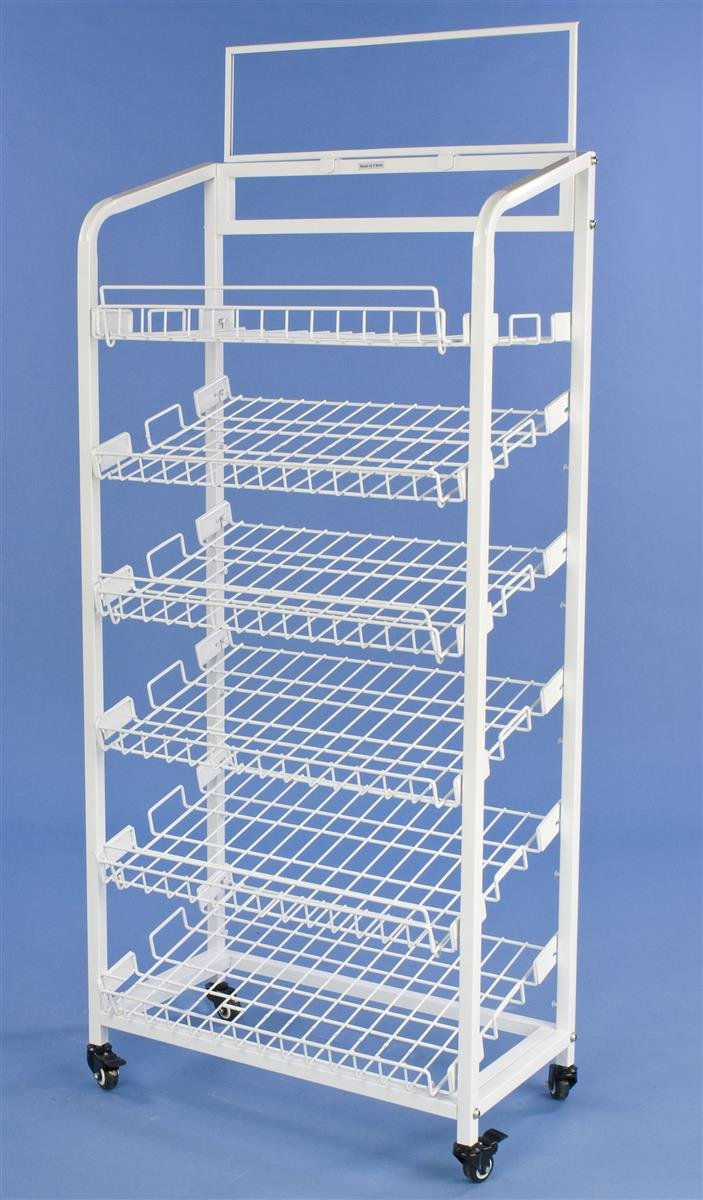 Displays2go Steel Baker's Rack with 6 Removable Wire Shelves, White
