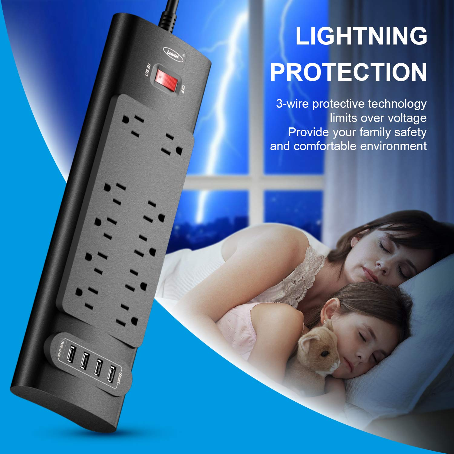 Power Strip, Bototek Surge Protector with 10 AC Outlets and 4 USB Charging Ports,1625W/13A 6 Feet Long Extension Cord for Smartphone Tablets Home,Office & Hotel- Black by bototek (Image #5)
