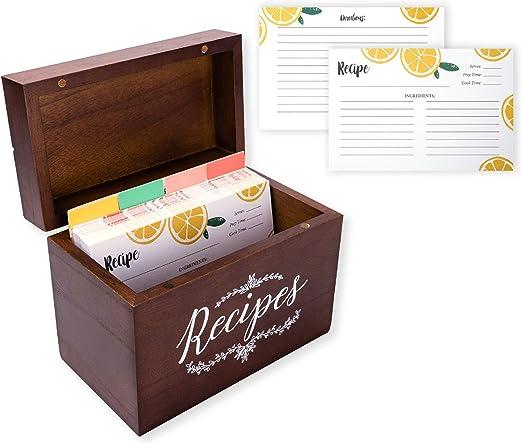 Outshine Recipiente de recetas de madera vintage con tarjetas y divisiones y tarjetas de recetas de doble cara y 8 separadores para las mujeres de mamá. 4x6 Fruta: Amazon.es: Oficina y papelería
