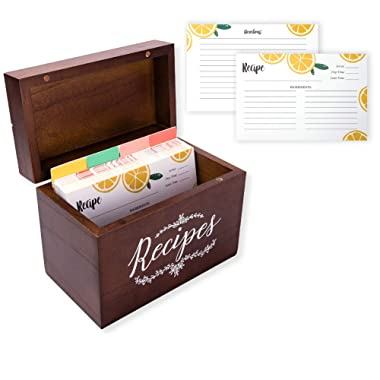 Vintage 4x6 Wood Recipe Box with Cards and Dividers Gift Set   100 Lemon Orange Double Sided 4x6 Recipe Cards & 12 Dividers   Great Gift for Mom Women Wedding Bridal Shower