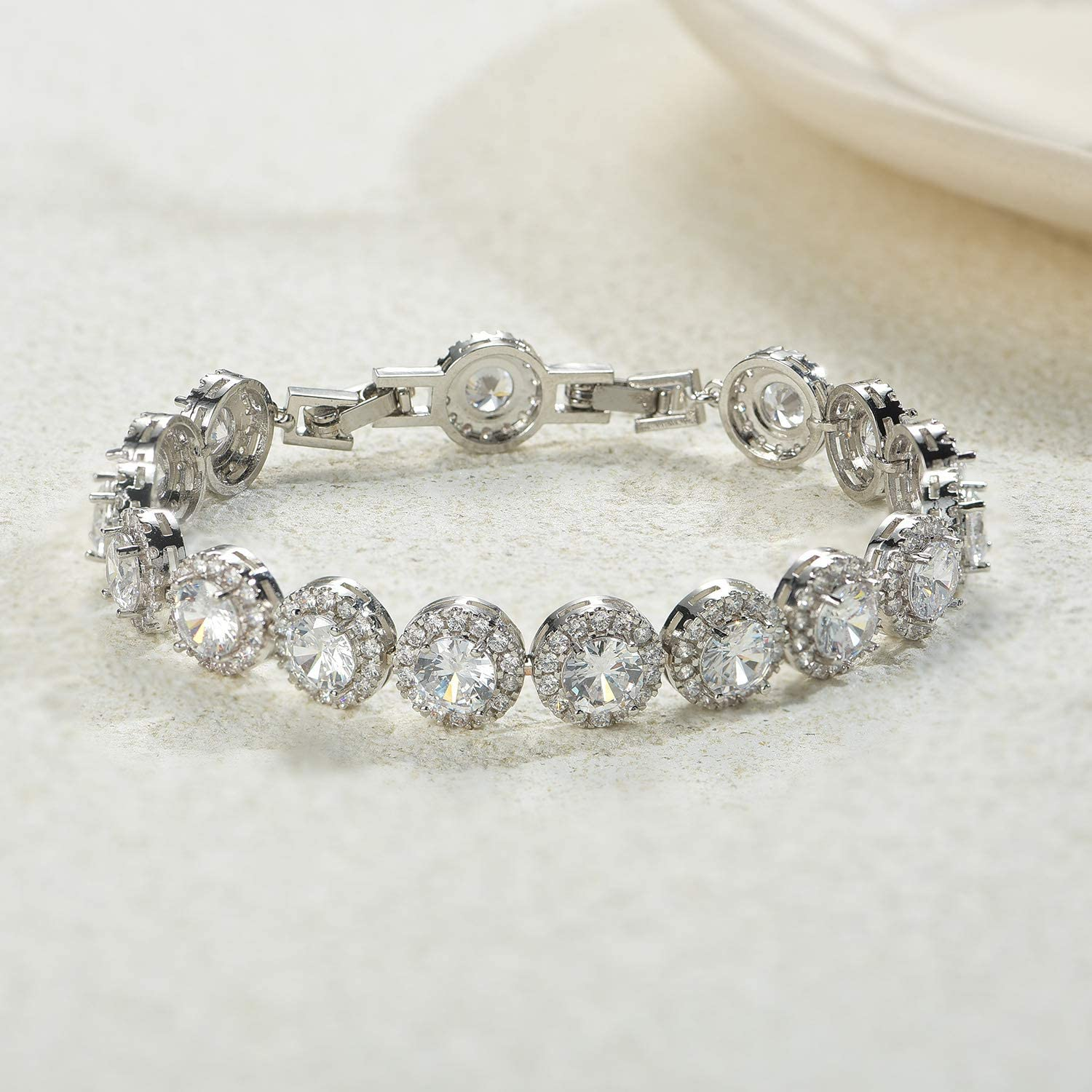 Crystal Elegant Tennis Bracelet for Women Bridal Jewelry SWEETV Round Cubic Zirconia Wedding Bracelets for Brides