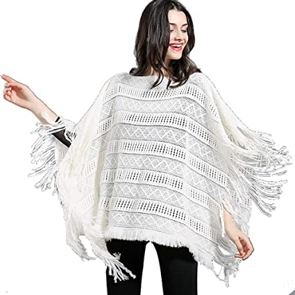 5b2938fbf9f48f Zxcvlina Shawl Jumper Women's Striped Sweater Pullover Cape Knitted Poncho  with Fringed Sides