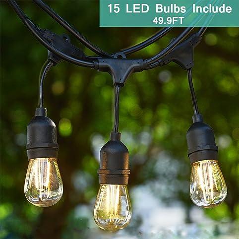 Outdoor String Light Kit, Tomshine 49.9Ft LED Waterproof Heavy Duty  Commercial String Lights,
