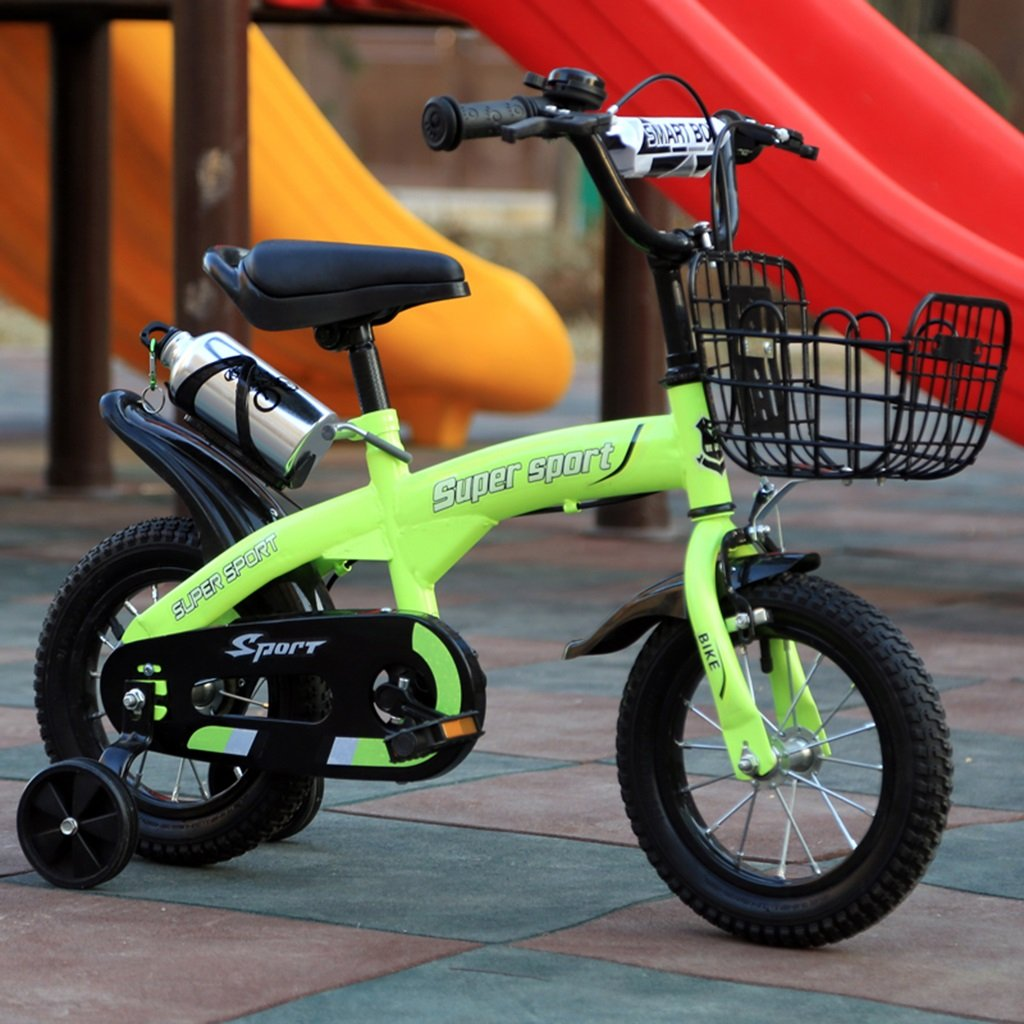 子供用自転車、グリーンオプションのフラッシュアシストホイールリアシートケトル高炭素鋼ボディ丈夫で安全な子供用に設計された2-10 88-121CM B07D5Y4BCM 88CM|B B 88CM