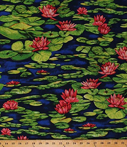 Amazoncom Cotton Water Lilies Lily Pads Lotus Flowers Nature Pond