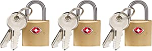 Lewis N. Clark Mini Brass Square TSA Lock + Padlock for Luggage, Suitcase, Carry On, Backpack, Laptop Bag or Purse - Perfect for Airport, Hotel, & Gym, 2 Keys Included - 3 Pack