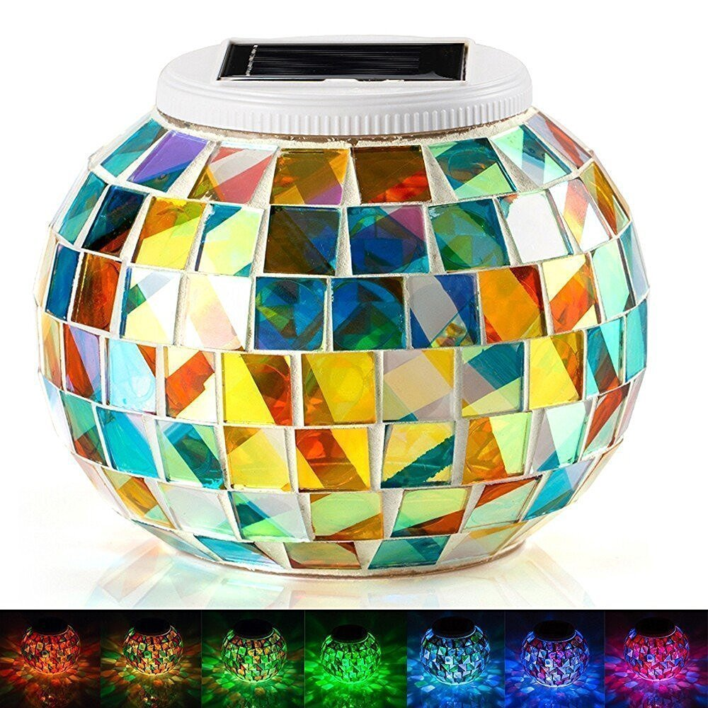 EONSMN Color Changing LED Garden Night Lamp for Indoor Outdoor Bedroom Party Decorations Solar Mosaic Glass Ball Lights Red /& Blue