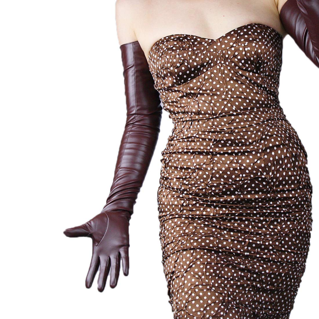 SUEDE LONG GLOVES Faux Leather PU 28 70cm Extra Long Evening (Black touch screen)