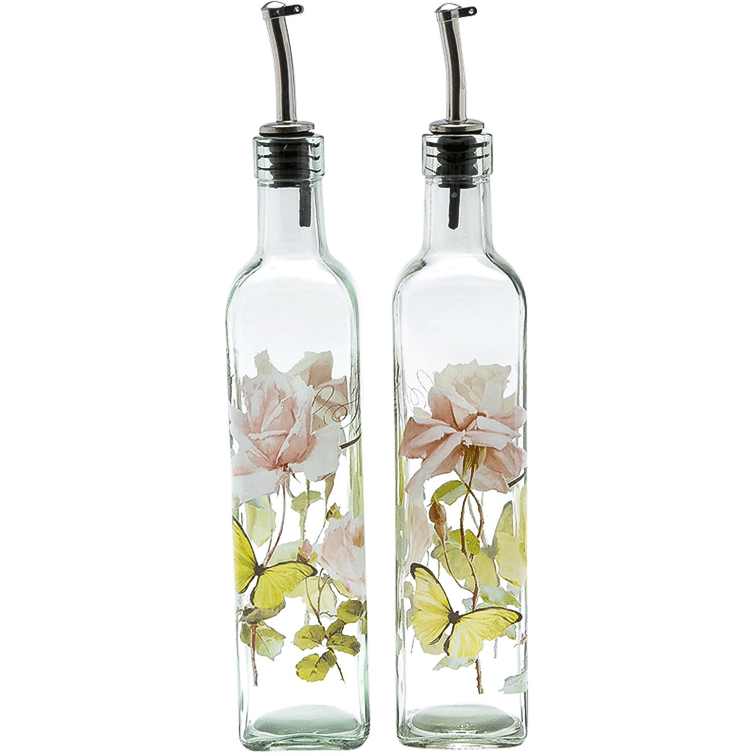 CEDAR HOME Olive Oil Bottle Set Glass Dispenser Vinegar Cruet 17oz. with Stainless Steel Leak Proof Pourer Spout for Cooking or Salad Dressing, 2 Pack, Pink by CEDAR HOME (Image #1)