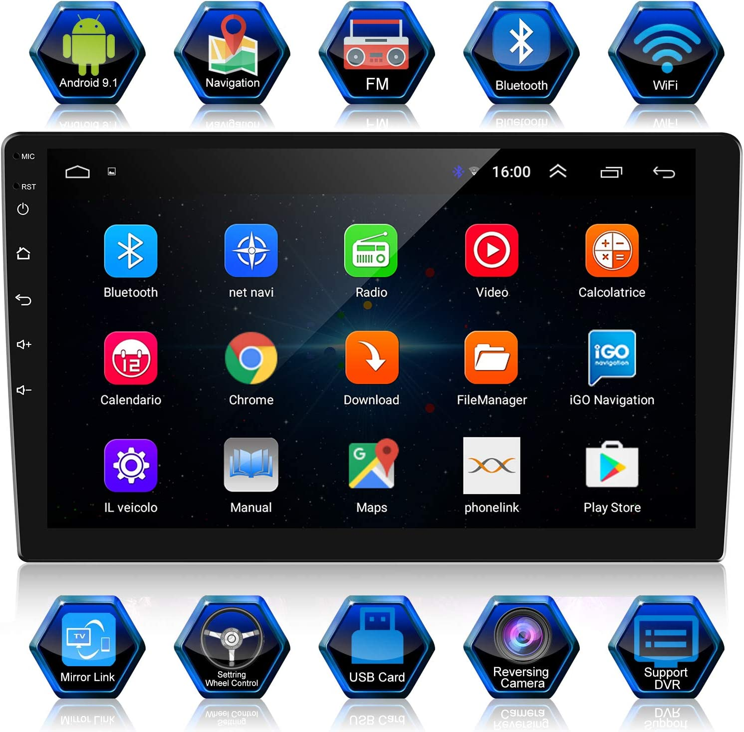 ANKEWAY 2 DIN 10.1 Pulgadas Android 9.1 Radio de Coche Navegación GPS 1080P HD Pantalla Táctil WiFi/Bluetooth Manos Libres Autoradio 1G/16G Multimedia Car Stereo+Internet WiFi+Cámara de Visión Trasera: Amazon.es: Electrónica