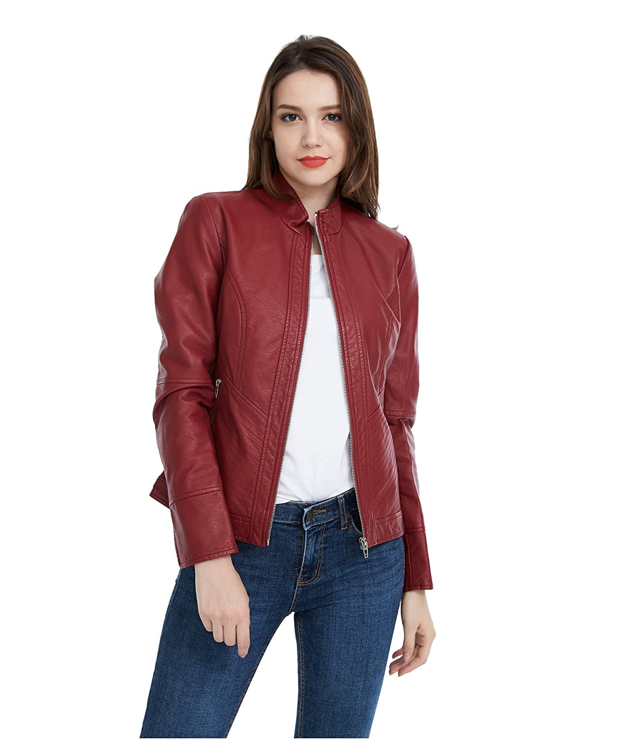 Fasbric Women Faux Leather Wind & Water Proof Biker Jacket Zipper