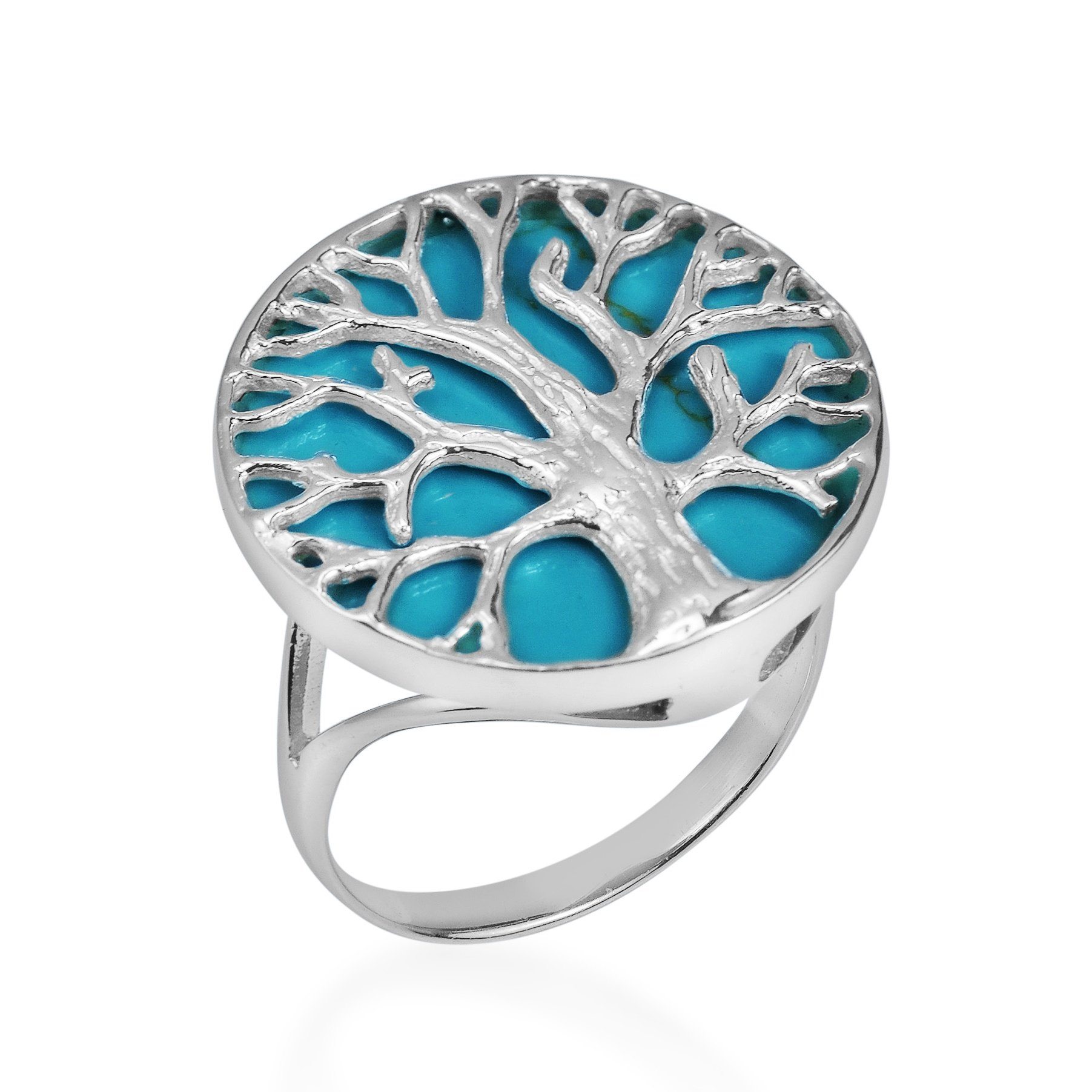 AeraVida Mystical Tree of Life Simulated Turquoise Inlay .925 Sterling Silver Ring (7)