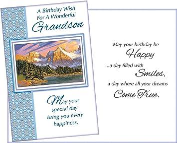 Amazon.com: Tarjeta de felicitación de cumpleaños para nieto ...