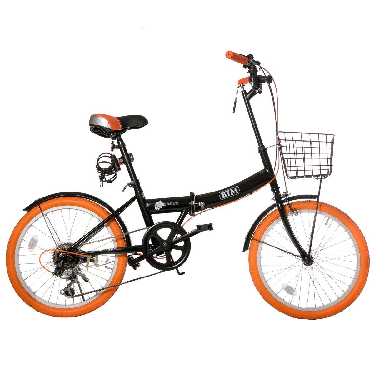 (オーエスジェー)OSJ 折りたたみ自転車 20インチ シマノ6段変速 カゴやライトやカギ付き 通勤 通学 7色 B075K38VR9 ブラック&オレンジA ブラック&オレンジA
