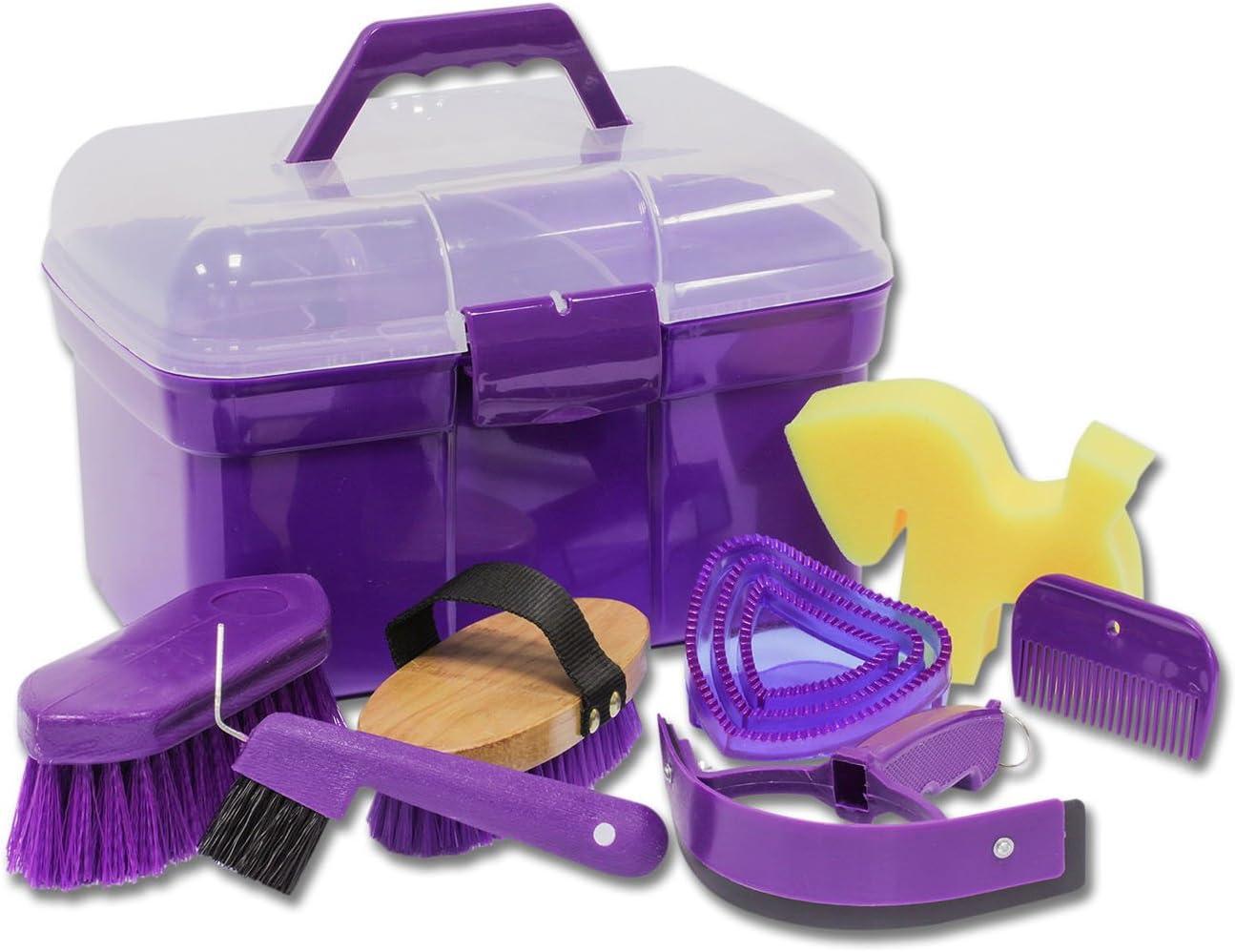 Amesbichler Caja con Accesorios de Limpieza para Caballos, Color Morado