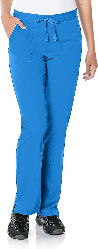 Urbane Women's Standard 5-Pocket, Contemporary Slim Fit 50/50 Drawstring Waist Medical Scrub Pants 9329, Royal, MED