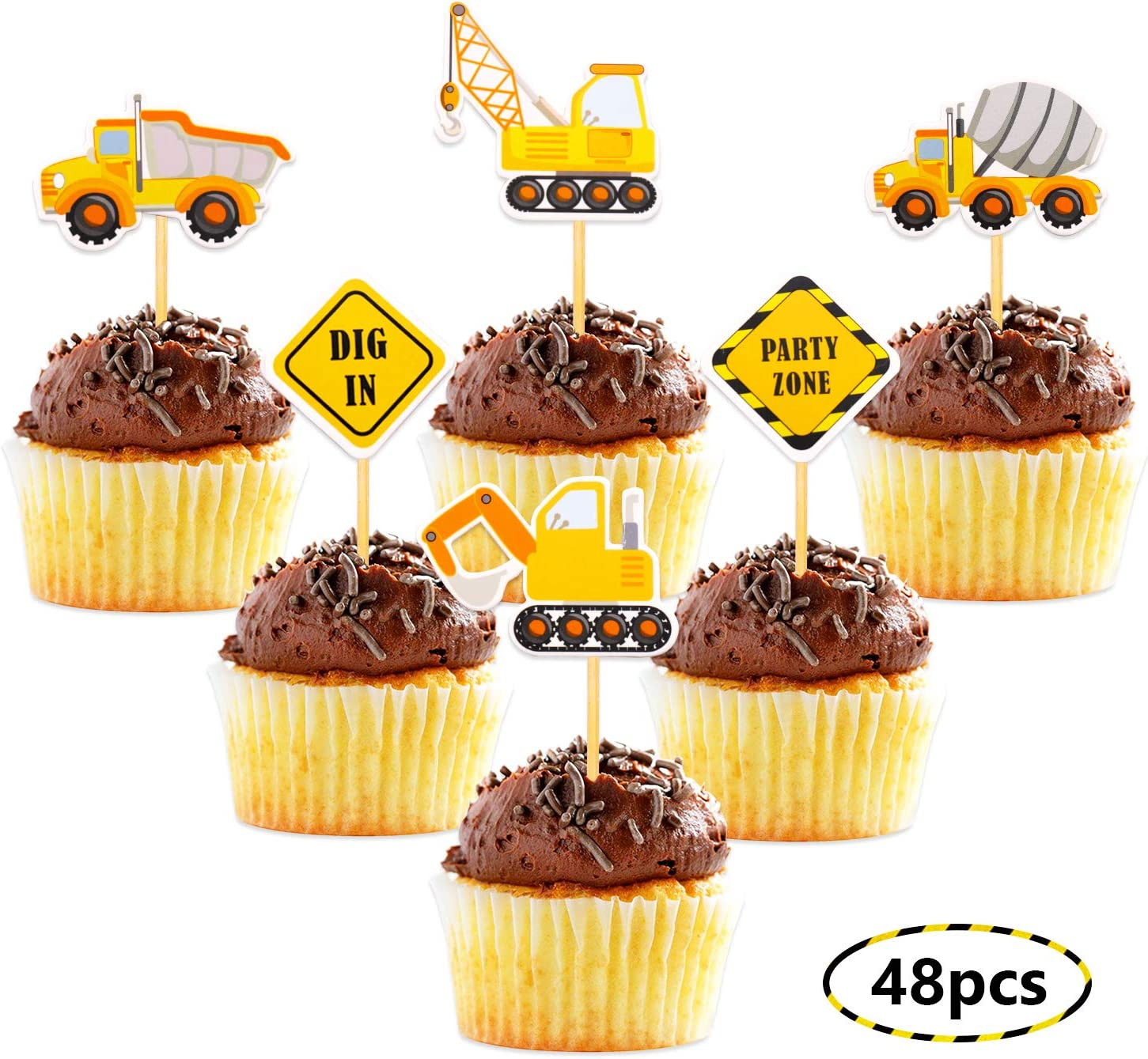 Fabulous Construction Theme Cupcake Toppers Construction Signs Trucks Personalised Birthday Cards Veneteletsinfo