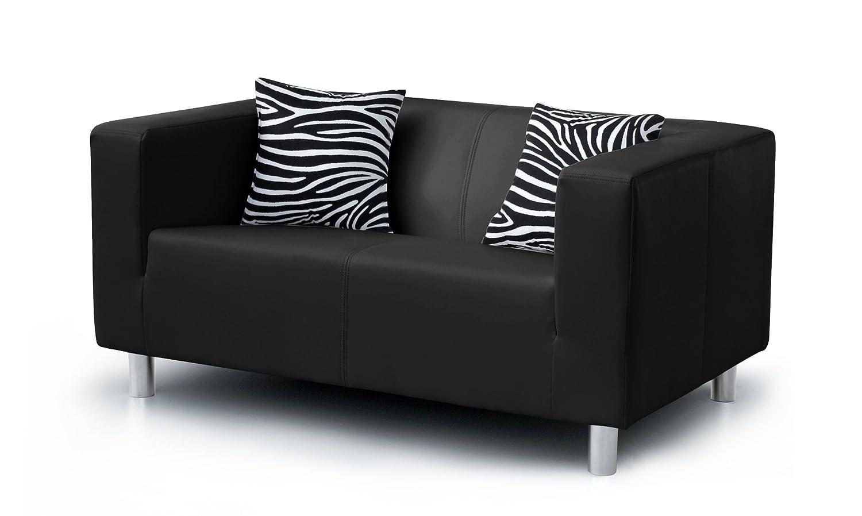 Ledersofa schwarz 2 sitzer  B-famous 2-Sitzer Sofa Cube 135 x 85 cm, PU, schwarz: Amazon.de ...