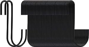 Yesland 50 Pack 4 Inches S Hooks, S Shaped Hooks/Hanging Hangers Hooks Heavy Duty Black Hook for Kitchen, Work Shop, Bathroom, Garden