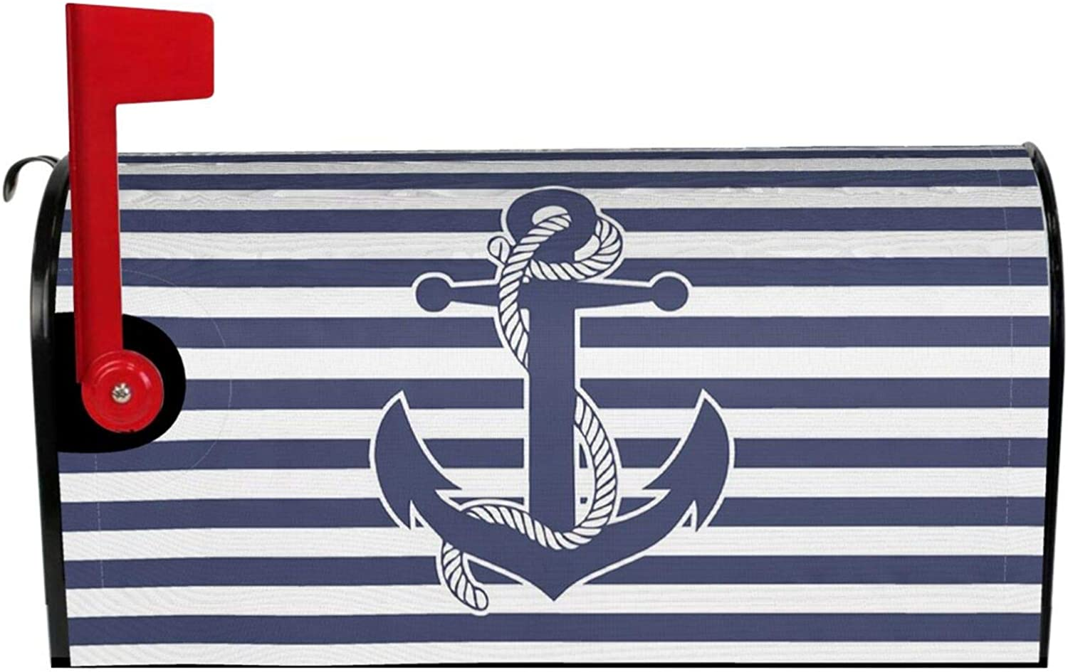 YX-Handsome Mailbox Cover Magnetic Retro Nautical Anchor Mailbox Wraps Post Letter Box Covers Garden Yard Home Decor Standard Size 25.5