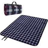 """Fleece Outdoor Picnic Blanket - MelodySusie Washable Extra Large 70x78"""" Foldable Water-resistant Picnic Blanket Camping Tote Mat for Outdoor Hiking Camping Travelling"""