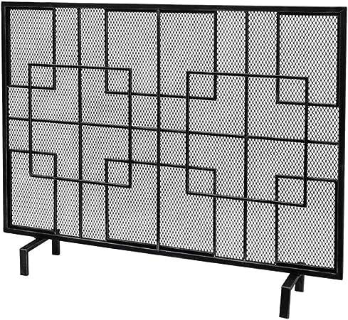 FF Antichispas para Chimenea Pantalla de Hierro Forjado Chimenea con Malla, Panel Plano Spark Guard for bebé Seguro, Protector for Madera Quemador/ Cocina/Gas Fuego, 100 × 20 × 77cm (Color : Black): Amazon.es: Hogar