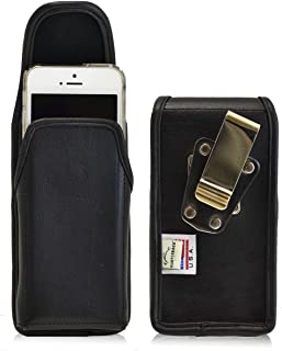 product image for Turtleback Belt Case Compatible with Apple iPhone SE 5 5c 5s Black Vertical Holster Leather Pouch with Heavy Duty Rotating Ratcheting Belt Clip Made in USA