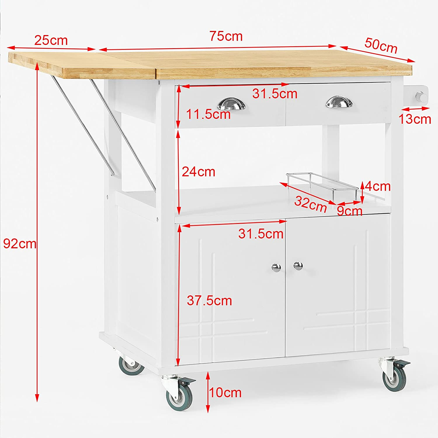 SoBuy FKW19-WN, Wood Extendable Kitchen Trolley Cart with Left-side ...
