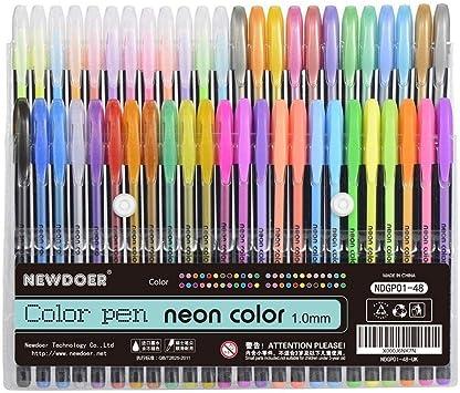 Lote de 48 bolígrafos de tinta de gel Newdoer, para colorear, ideal para adultos punta de 1,0 mm (12 de colores metálicos, 12 de colores con purpurina, 12 de colores neón y