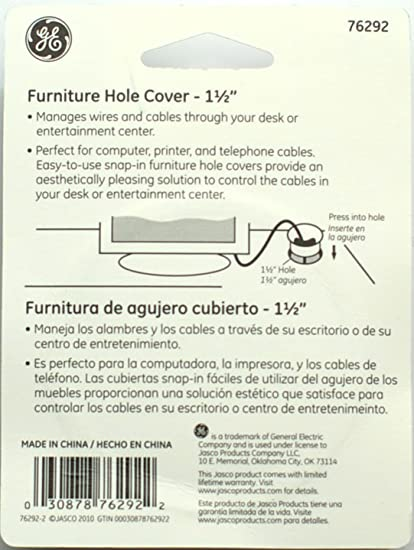 Amazon.com: GE Office Furniture Desk Grommet Hole Cover for Cords and Cables (1.5