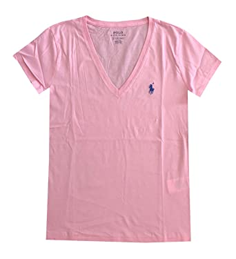 5f0e0bcd9eb1b3 Ralph Lauren Polo Damen V-Neck Shirt T-Shirt Pink Größe L  Amazon.de ...