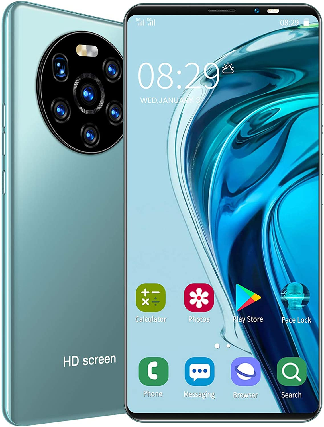 LANDVO mate40 Pro Unlocked Smartphone, 5.45in 1+8GB HD Screen Phone Dual Card Dual Standby Smart Phone 128GB of Expandable Storage Android Cell Phone Face Recognition Fingerprint Mobile Phone(Green)