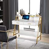 """Modern Writing Desk with Hutch - 39"""" x 19"""" Workstation Computer Work Study Table for Home Office Furniture Vanity Make…"""