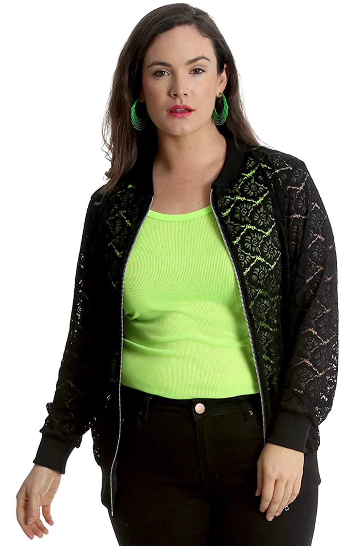 5901ade76 Nouvelle Plus Size Floral Lace Bomber Jacket