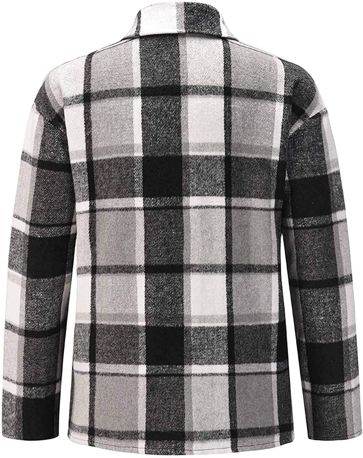 Gray 01, Small Womens Casual Color Block Plaid Wool Blend Shirt Jacket Coat Long Sleeve Button Down Cardigan Tops