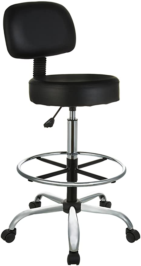 AmazonBasics Drafting Stool With Adjustable Foot Rest   Black