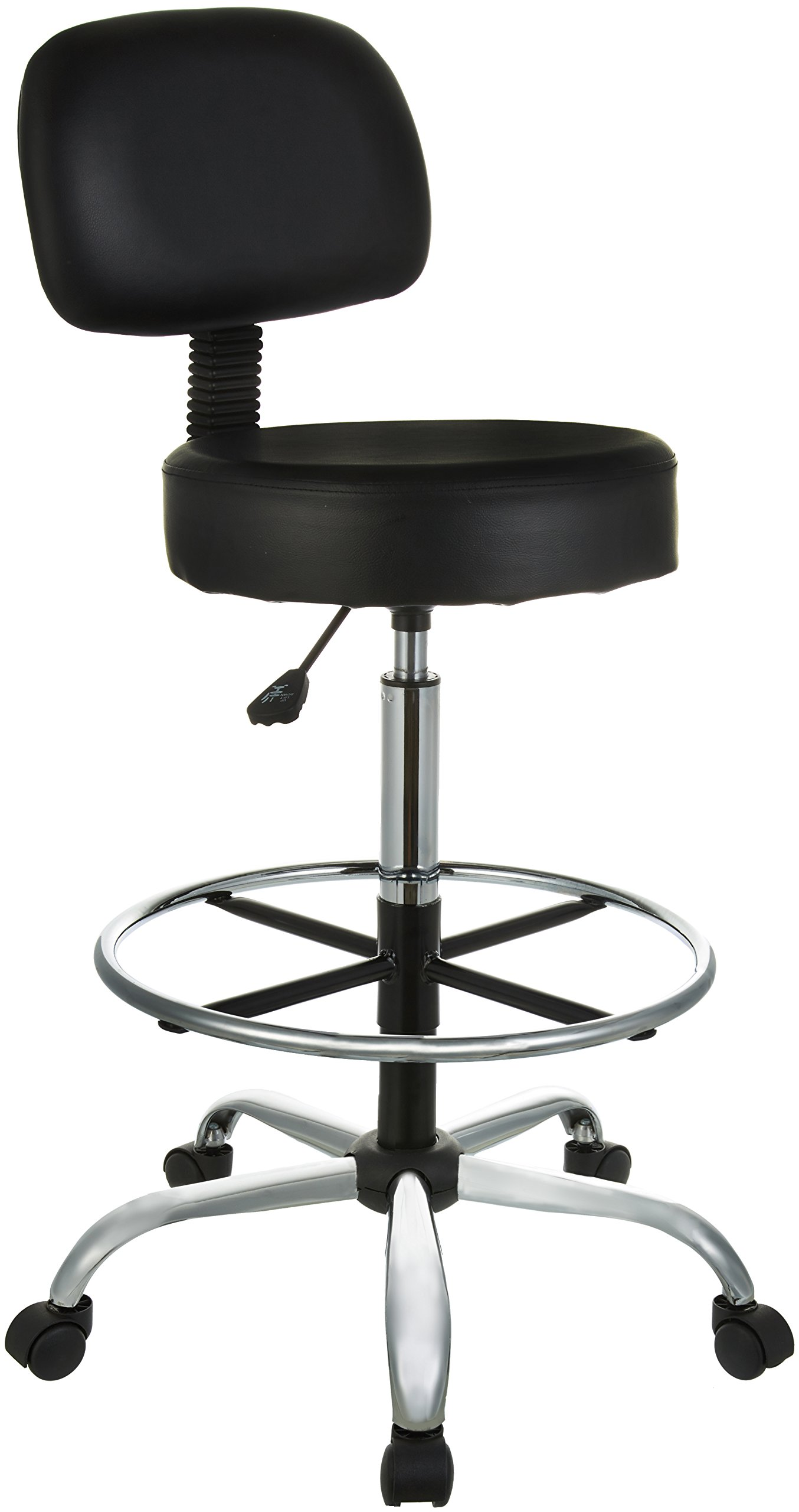 AmazonBasics Drafting Stool with Adjustable Foot Rest - Black