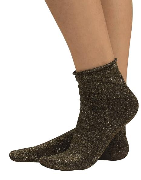 letzte auswahl von 2019 außergewöhnliche Auswahl an Stilen und Farben beste Turnschuhe CALZITALY Damen Lurex Glänzende Socken mit Glitzer ohne Gummi | Gold,  Silber | Made in Italy