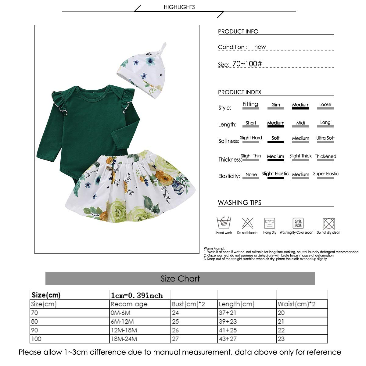 3pcs Baby Girls Ruffled Long Sleeve Romper Floral Skirt Hat Infant Outfits Set