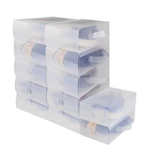 12 x Cajas de Zapatos Plegables de Plástico Uuhome, 30 x 18 x 10cm,