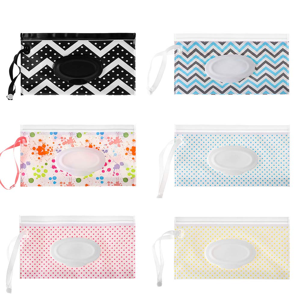 Wet Wipe Pouch 6 Pcs Baby Wet Wipe Pouch Travel Wipes Case Reusable Refillable Wet Wipe Bag Cases Portable Travel Wipes Dispenser Wipe Pouches for Baby,6 Pattern by Pveath