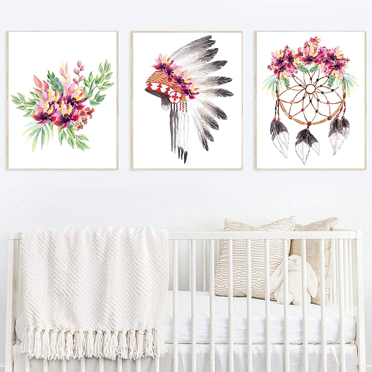 NFXOC (Wall Art) Canvas Painting Boho Nursery Pink Woodland Fairy Sweet Dreams Quotes Posters and Prints Pictures for Home Decor (30x50cm) 3pcs Frameless