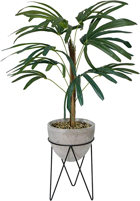 Amazon Com Flora Bunda Artificial Plant Tree 40 Tall Artificial Switch Cane Palm In 8 Inch Cement Planter On Metal Stand Grey Home Kitchen