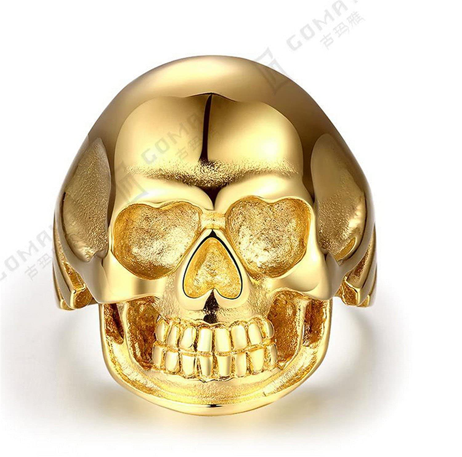 Dudee Jewelry Heavy Coming Gold Plated Gothic Mens Biker Titanium Steel Ring Fashion Skull Cool Man Finger Rings