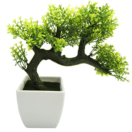 nattol mini japanese style artificial bonsai tree with plastic pot for home decor yellow