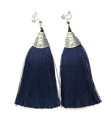 Long Funky Navy Blue Tassel Chandelier Dangle Party Earrings 6BfWR